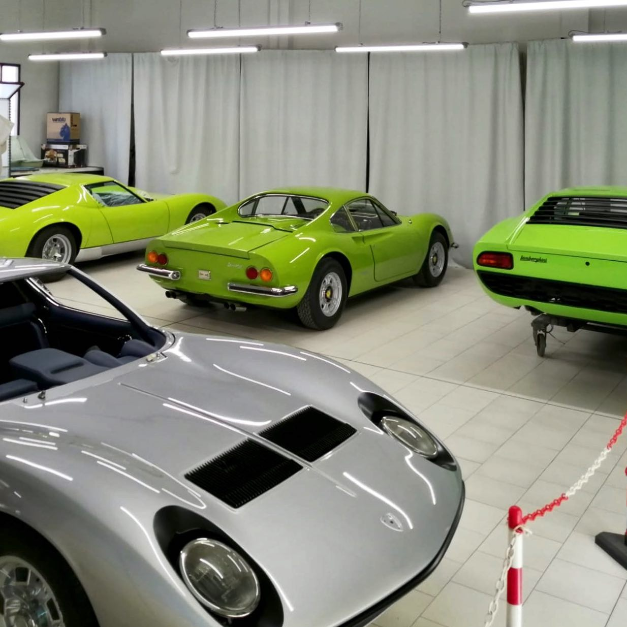 Odd one out! – – – #oddoneout #miura #lamborghini #ferrari #dino246gt #supercars #italianstyle #doosetdaram #madeinmodena #classiccars #summervibes #WaitingforMiuraBook